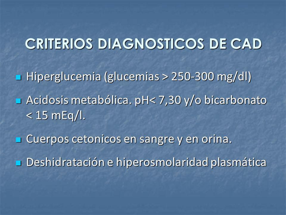 CRITERIOS DIAGNOSTICOS DE CAD Hiperglucemia (glucemias > 250-300 mg/dl) Hiperglucemia (glucemias > 250-300 mg/dl) Acidosis metabólica. pH< 7,30 y/o bi