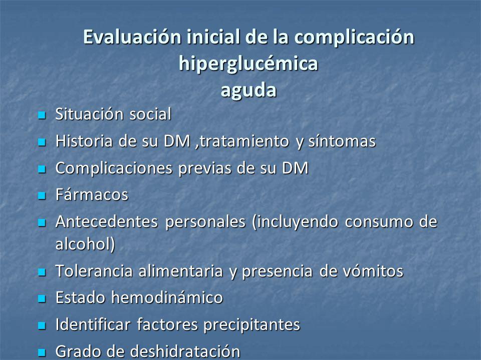 Evaluación inicial de la complicación hiperglucémica aguda Situación social Situación social Historia de su DM,tratamiento y síntomas Historia de su D