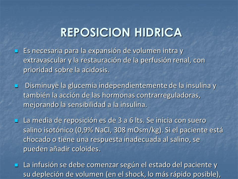 REPOSICION HIDRICA Es necesaria para la expansión de volumen intra y extravascular y la restauración de la perfusión renal, con prioridad sobre la aci