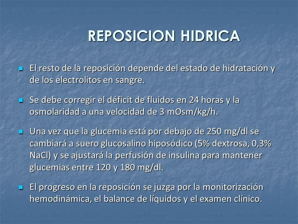 REPOSICION HIDRICA El resto de la reposición depende del estado de hidratación y de los electrolitos en sangre. El resto de la reposición depende del