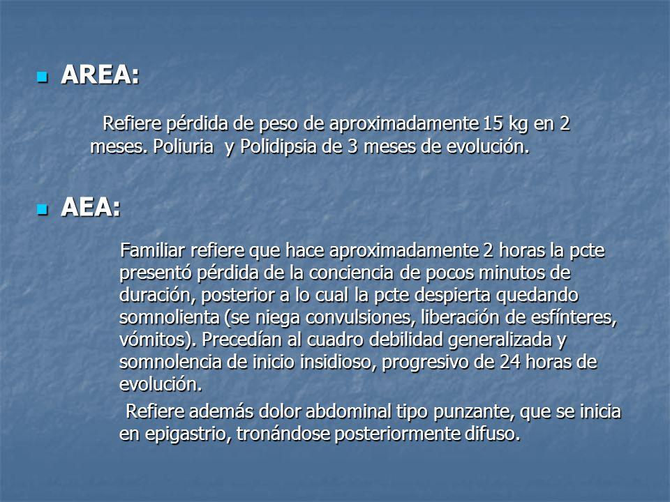 AREA: AREA: Refiere pérdida de peso de aproximadamente 15 kg en 2 meses. Poliuria y Polidipsia de 3 meses de evolución. Refiere pérdida de peso de apr