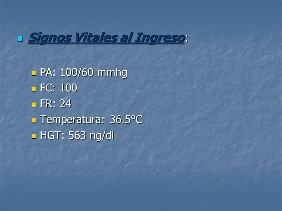 Signos Vitales al Ingreso: Signos Vitales al Ingreso: PA: 100/60 mmhg PA: 100/60 mmhg FC: 100 FC: 100 FR: 24 FR: 24 Temperatura: 36.5°C Temperatura: 3
