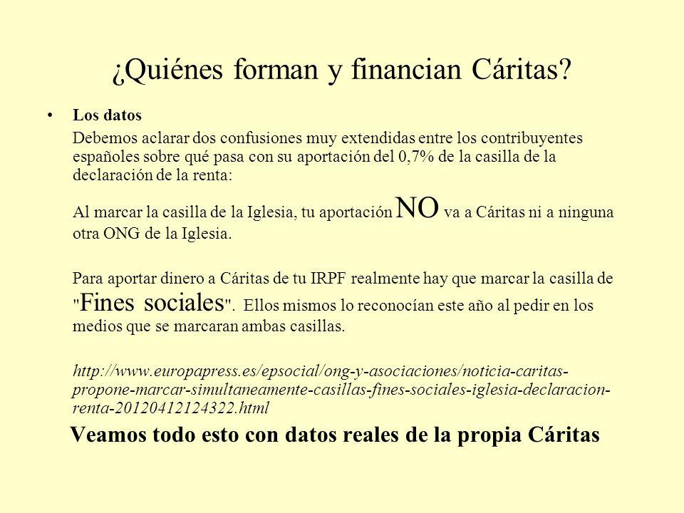 ¿Quiénes forman y financian Cáritas? Los datos Debemos aclarar dos confusiones muy extendidas entre los contribuyentes españoles sobre qué pasa con su
