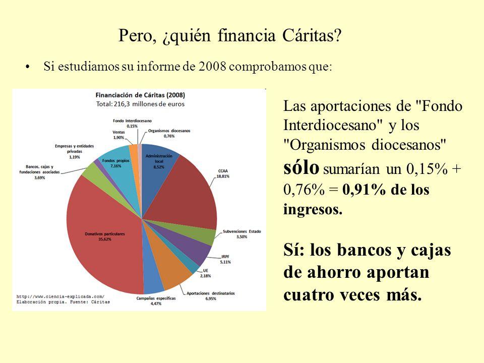 Pero, ¿quién financia Cáritas? Si estudiamos su informe de 2008 comprobamos que: Las aportaciones de