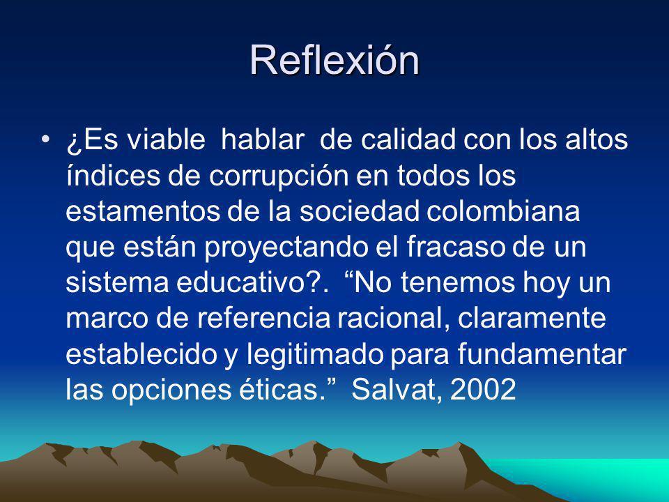 Reflexión ¿Es viable hablar de calidad con los altos índices de corrupción en todos los estamentos de la sociedad colombiana que están proyectando el fracaso de un sistema educativo .