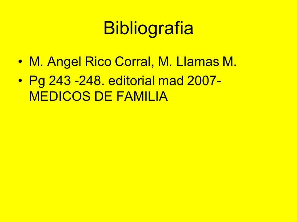 Bibliografia M. Angel Rico Corral, M. Llamas M. Pg 243 -248. editorial mad 2007- MEDICOS DE FAMILIA