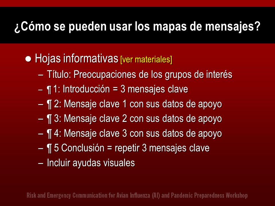 ¿Cómo se pueden usar los mapas de mensajes? Hojas informativas [ver materiales] –Título: Preocupaciones de los grupos de interés –¶ 1: Introducción =