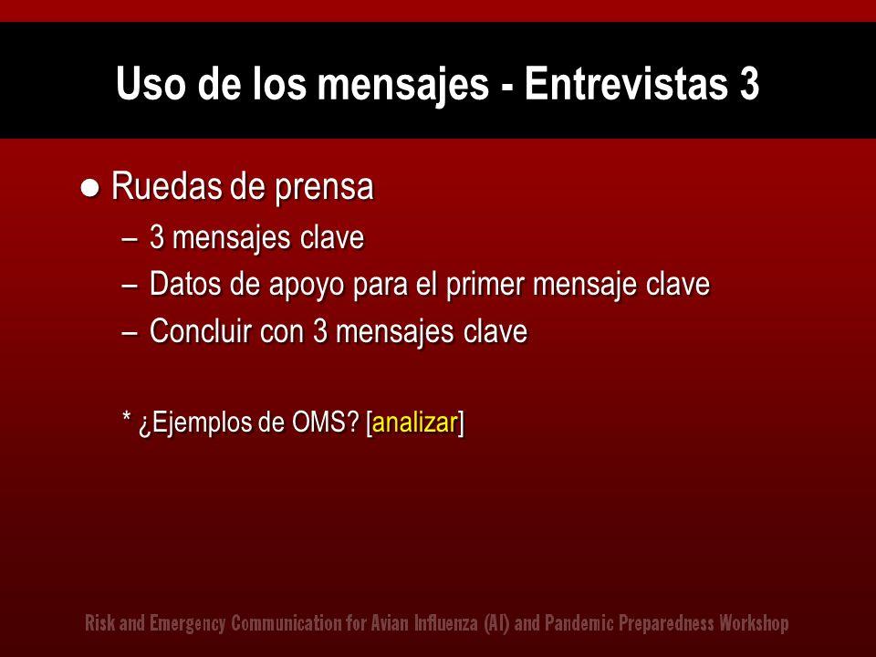 Uso de los mensajes - Entrevistas 3 Ruedas de prensa –3 mensajes clave –Datos de apoyo para el primer mensaje clave –Concluir con 3 mensajes clave * ¿