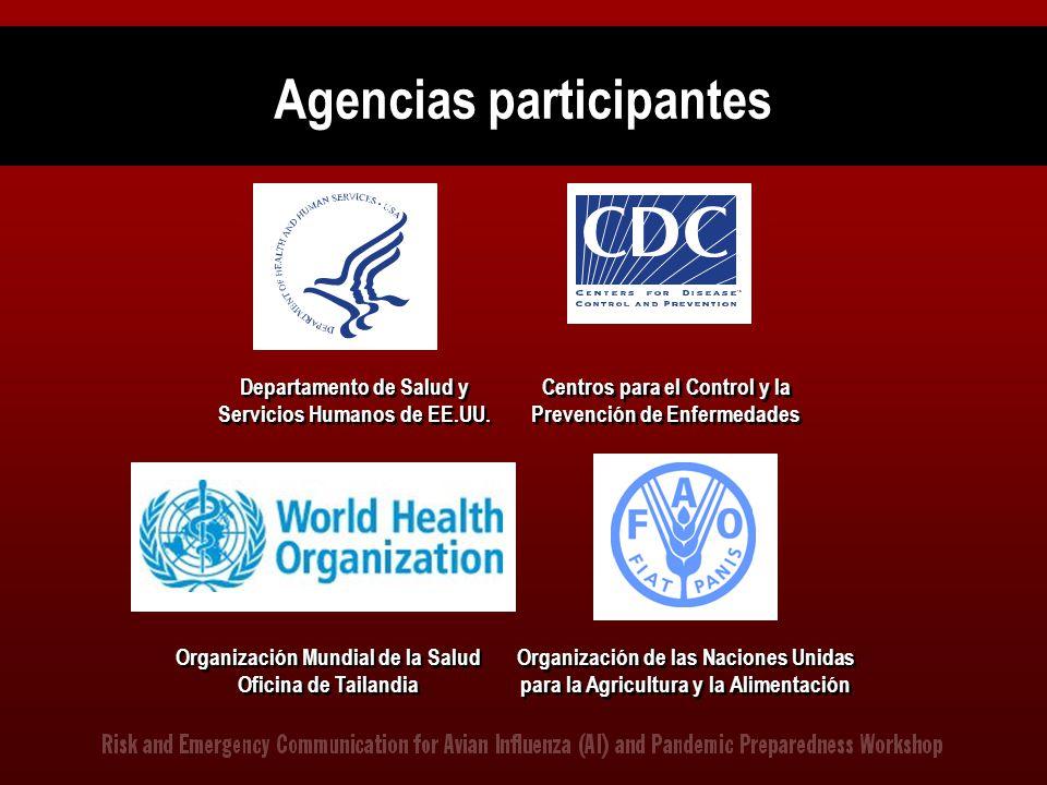 Agencias participantes Organización de las Naciones Unidas para la Agricultura y la Alimentación Departamento de Salud y Servicios Humanos de EE.UU. C