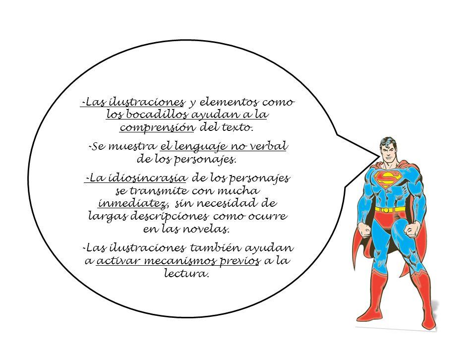 -Las ilustraciones y elementos como los bocadillos ayudan a la comprensión del texto. -Se muestra el lenguaje no verbal de los personajes. -La idiosin