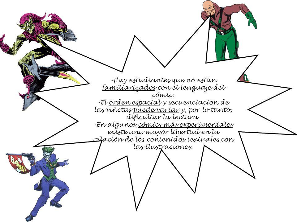 -Hay estudiantes que no están familiarizados con el lenguaje del cómic. -El orden espacial y secuenciación de las viñetas puede variar y, por lo tanto