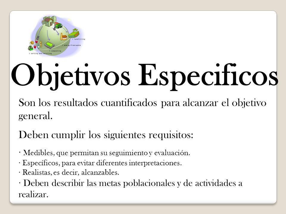 Objetivos Especificos Son los resultados cuantificados para alcanzar el objetivo general. Deben cumplir los siguientes requisitos: · Medibles, que per