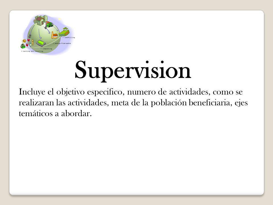 Supervision Incluye el objetivo especifico, numero de actividades, como se realizaran las actividades, meta de la población beneficiaria, ejes temátic