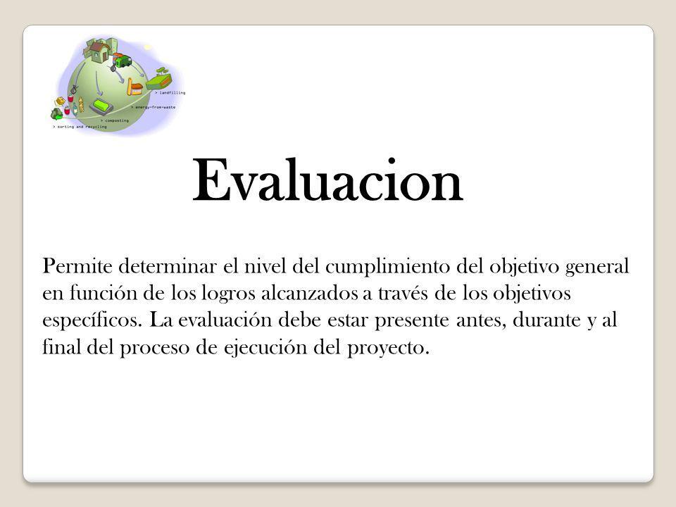 Evaluacion Permite determinar el nivel del cumplimiento del objetivo general en función de los logros alcanzados a través de los objetivos específicos