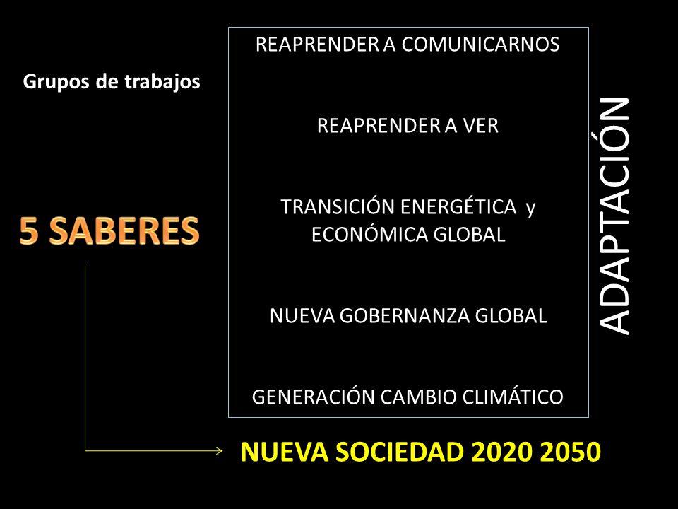 NUEVA SOCIEDAD 2020 2050 REAPRENDER A COMUNICARNOS REAPRENDER A VER TRANSICIÓN ENERGÉTICA y ECONÓMICA GLOBAL NUEVA GOBERNANZA GLOBAL GENERACIÓN CAMBIO