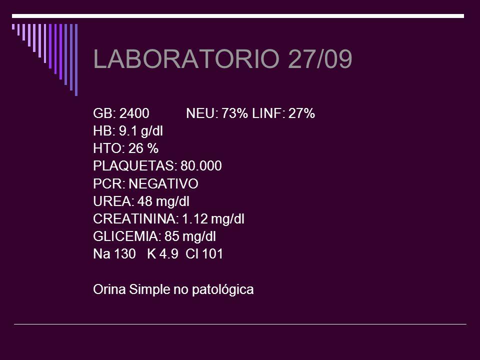 Laboratorio 28/09 GB: 2500 N:74 % L: 25 % HB: 9.1 g/dl Plaquetas: 54.000.