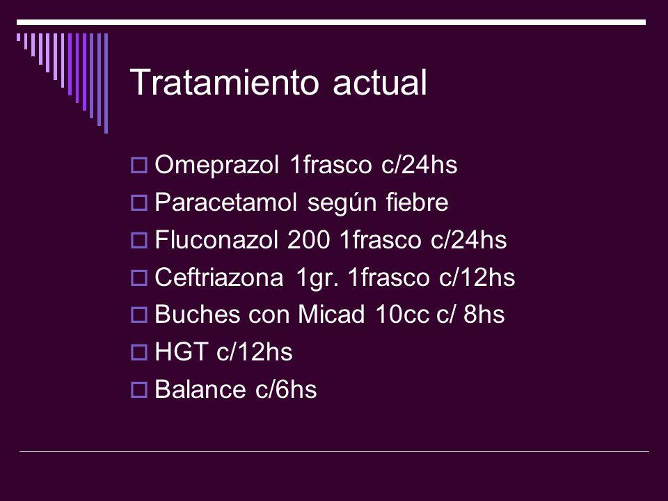 Tratamiento actual Omeprazol 1frasco c/24hs Paracetamol según fiebre Fluconazol 200 1frasco c/24hs Ceftriazona 1gr. 1frasco c/12hs Buches con Micad 10