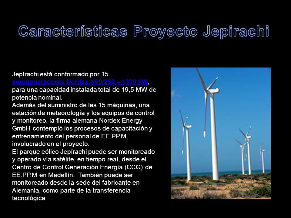 Jepírachi está conformado por 15 aerogeneradores Nordex N60/250 – 1300 kW, para una capacidad instalada total de 19,5 MW de potencia nominal. aerogene
