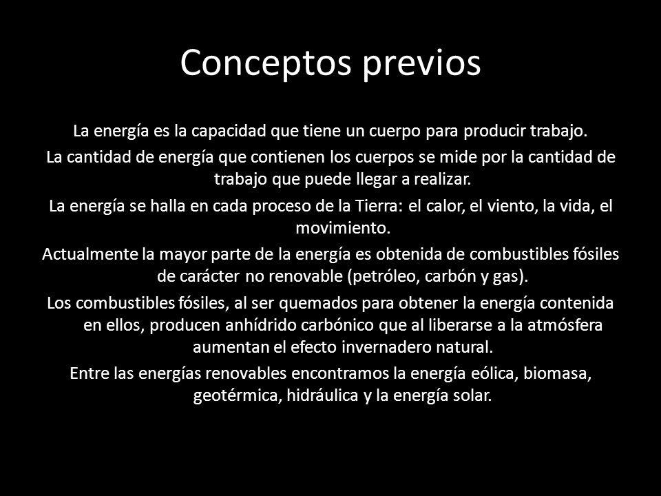 Conceptos previos La energía es la capacidad que tiene un cuerpo para producir trabajo. La cantidad de energía que contienen los cuerpos se mide por l