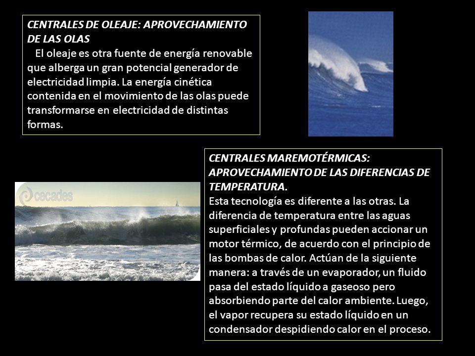 CENTRALES DE OLEAJE: APROVECHAMIENTO DE LAS OLAS El oleaje es otra fuente de energía renovable que alberga un gran potencial generador de electricidad
