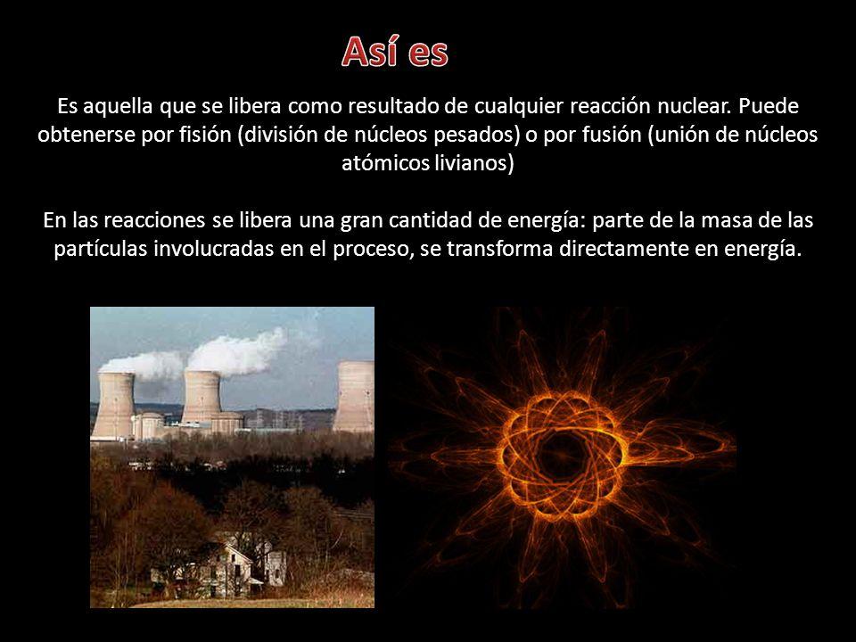 Es aquella que se libera como resultado de cualquier reacción nuclear. Puede obtenerse por fisión (división de núcleos pesados) o por fusión (unión de