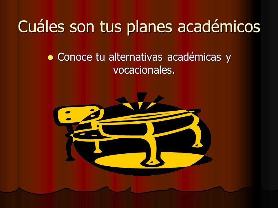 Cuáles son tus planes académicos Conoce tu alternativas académicas y vocacionales.