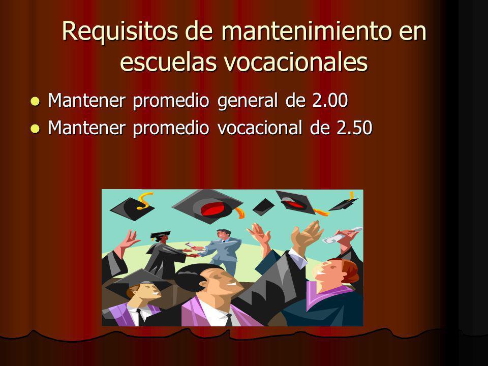 Requisitos de mantenimiento en escuelas vocacionales Mantener promedio general de 2.00 Mantener promedio general de 2.00 Mantener promedio vocacional de 2.50 Mantener promedio vocacional de 2.50