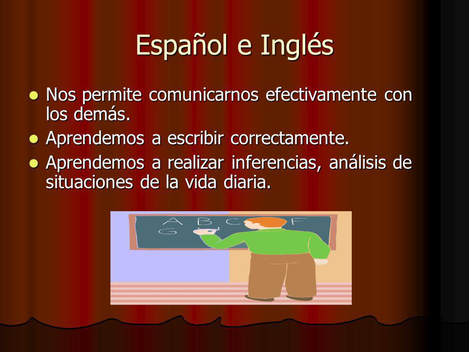 Español e Inglés Nos permite comunicarnos efectivamente con los demás.