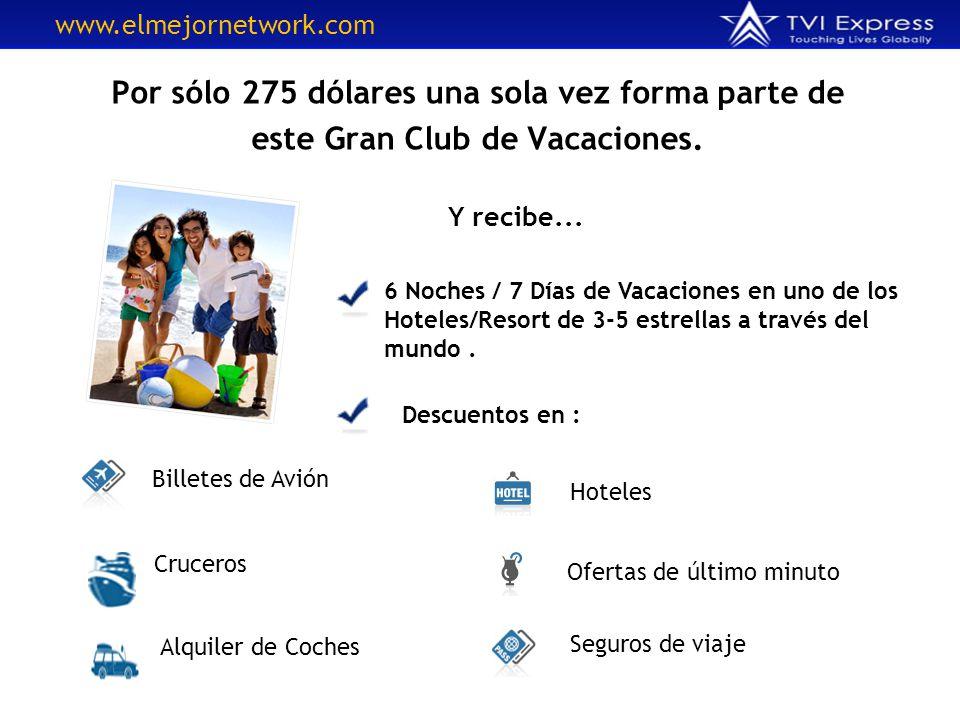Por sólo 275 dólares una sola vez forma parte de este Gran Club de Vacaciones. 6 Noches / 7 Días de Vacaciones en uno de los Hoteles/Resort de 3-5 est