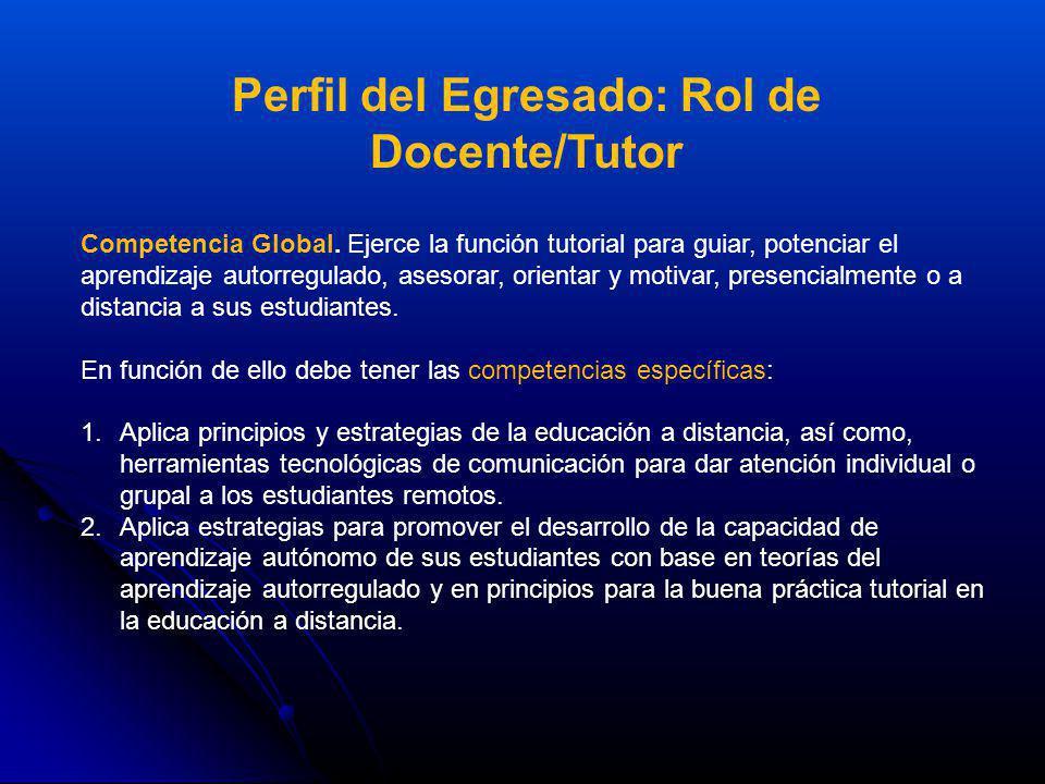 Competencia Global. Ejerce la función tutorial para guiar, potenciar el aprendizaje autorregulado, asesorar, orientar y motivar, presencialmente o a d