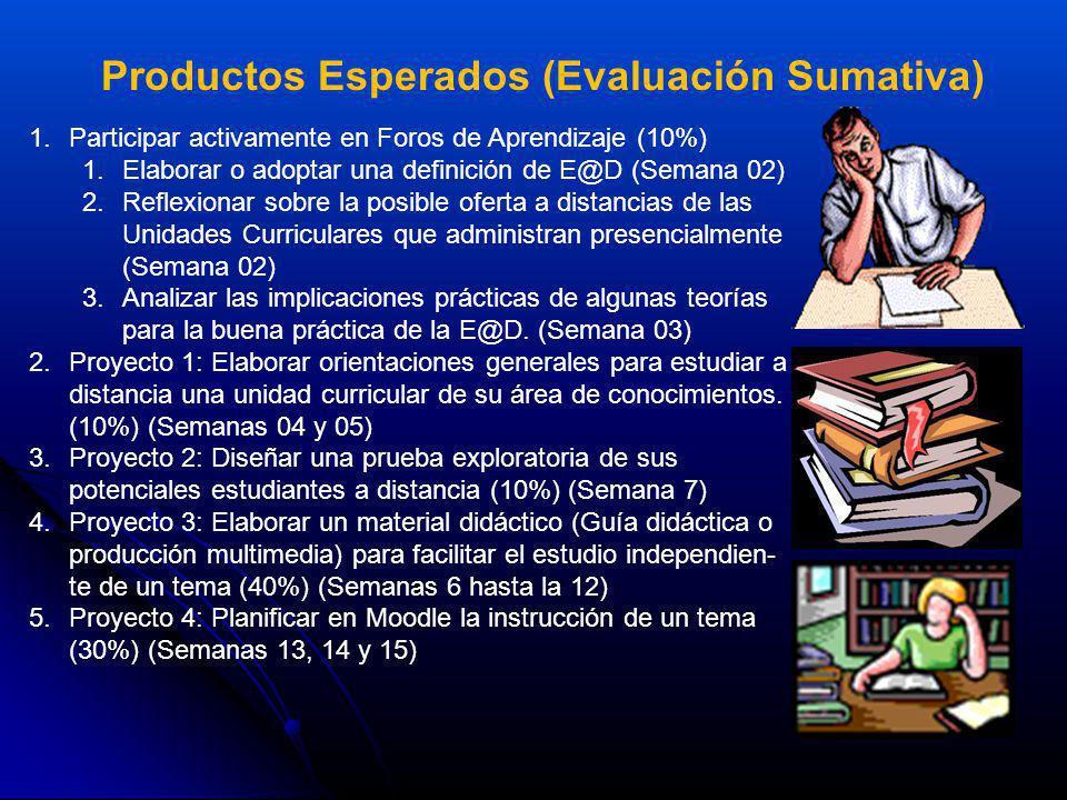 Productos Esperados (Evaluación Sumativa) 1.Participar activamente en Foros de Aprendizaje (10%) 1.Elaborar o adoptar una definición de E@D (Semana 02