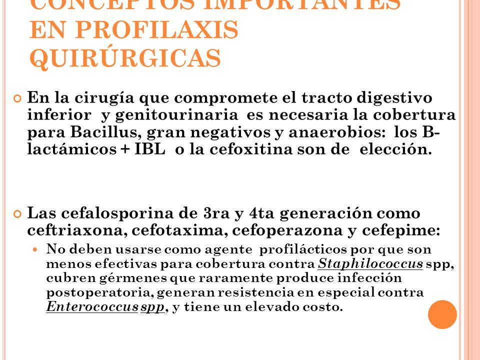 CONCEPTOS IMPORTANTES EN PROFILAXIS QUIRÚRGICAS En la cirugía que compromete el tracto digestivo inferior y genitourinaria es necesaria la cobertura p