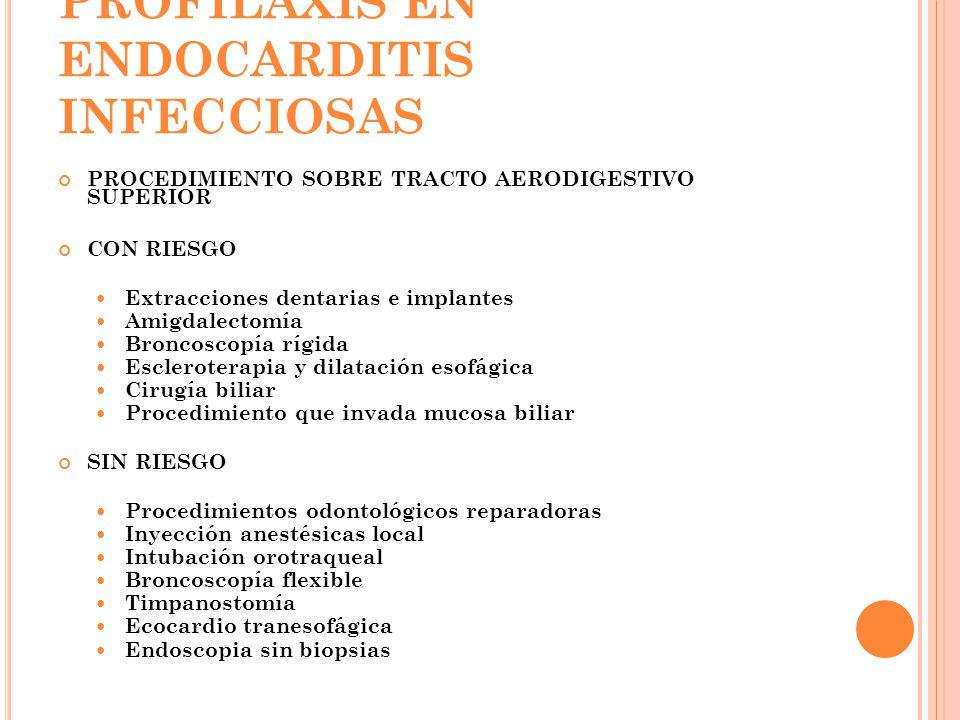 PROFILAXIS EN ENDOCARDITIS INFECCIOSAS PROCEDIMIENTO SOBRE TRACTO AERODIGESTIVO SUPERIOR CON RIESGO Extracciones dentarias e implantes Amigdalectomía