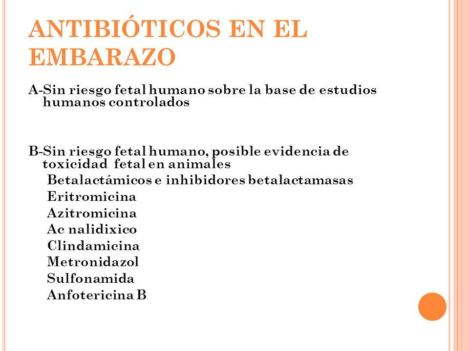 ANTIBIÓTICOS EN EL EMBARAZO A-Sin riesgo fetal humano sobre la base de estudios humanos controlados B-Sin riesgo fetal humano, posible evidencia de to