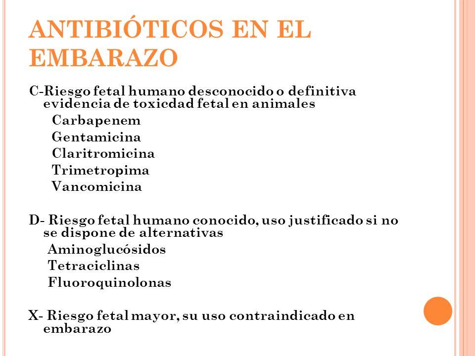 ANTIBIÓTICOS EN EL EMBARAZO C-Riesgo fetal humano desconocido o definitiva evidencia de toxicdad fetal en animales Carbapenem Gentamicina Claritromicina Trimetropima Vancomicina D- Riesgo fetal humano conocido, uso justificado si no se dispone de alternativas Aminoglucósidos Tetraciclinas Fluoroquinolonas X- Riesgo fetal mayor, su uso contraindicado en embarazo