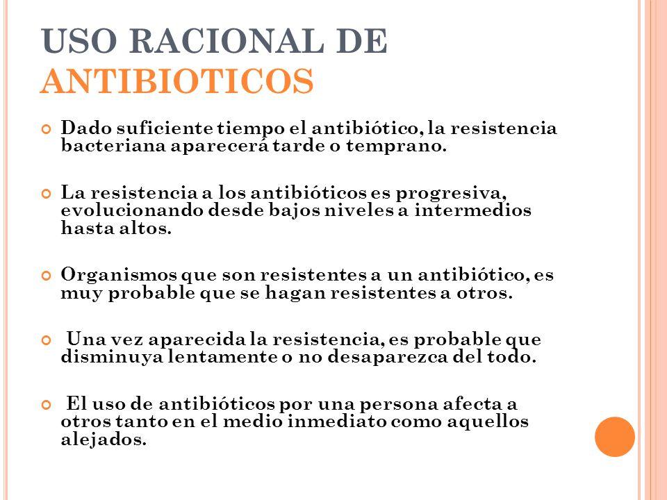 USO RACIONAL DE ANTIBIOTICOS Dado suficiente tiempo el antibiótico, la resistencia bacteriana aparecerá tarde o temprano. La resistencia a los antibió