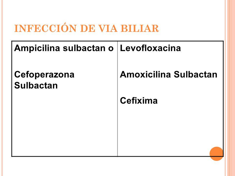 INFECCIÓN DE VIA BILIAR Ampicilina sulbactan o Cefoperazona Sulbactan Levofloxacina Amoxicilina Sulbactan Cefixima