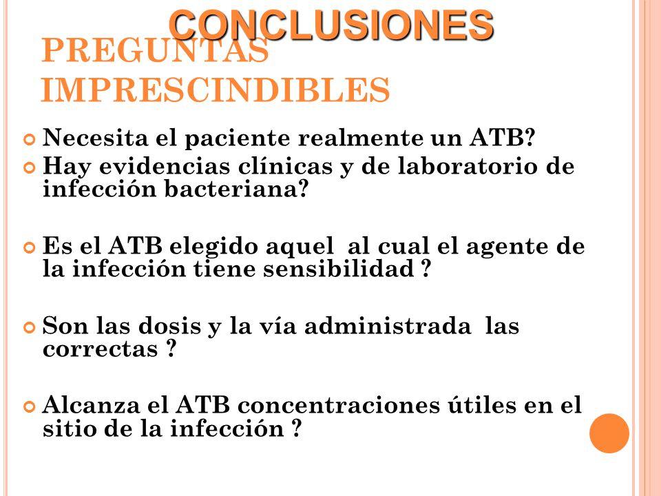 PREGUNTAS IMPRESCINDIBLES Necesita el paciente realmente un ATB? Hay evidencias clínicas y de laboratorio de infección bacteriana? Es el ATB elegido a