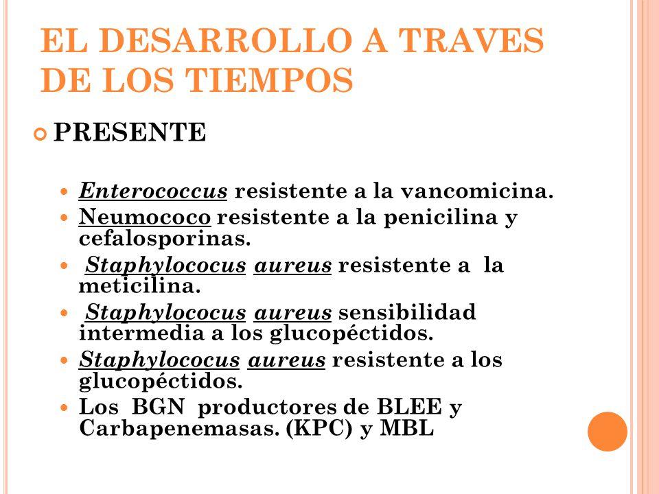 EL DESARROLLO A TRAVES DE LOS TIEMPOS PRESENTE Enterococcus resistente a la vancomicina. Neumococo resistente a la penicilina y cefalosporinas. Staphy