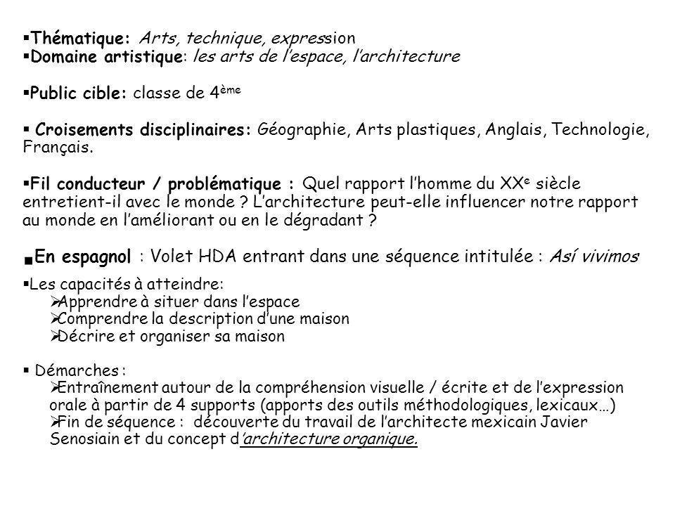 Thématique: Arts, technique, expression Domaine artistique: les arts de lespace, larchitecture Public cible: classe de 4 ème Croisements disciplinaire