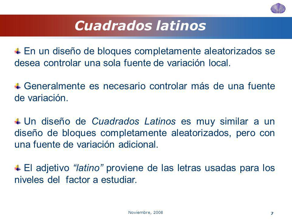 Noviembre, 2008 7 Cuadrados latinos En un diseño de bloques completamente aleatorizados se desea controlar una sola fuente de variación local. General