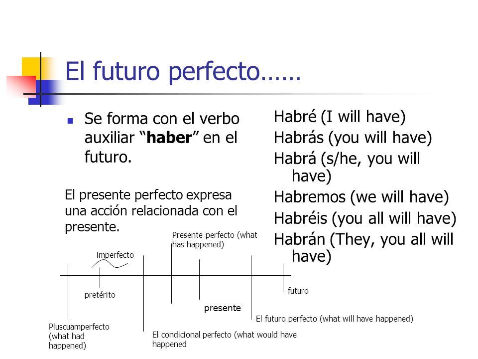 El presente perfecto…… Se forma con el verbo auxiliar haber en el presente. He (I have) Has (you have) Ha (s/he has, you have) Hemos (we have) Habéis
