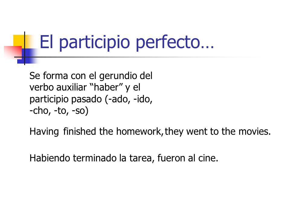 El futuro perfecto…… Se forma con el verbo auxiliar haber en el futuro. Habré (I will have) Habrás (you will have) Habrá (s/he, you will have) Habremo
