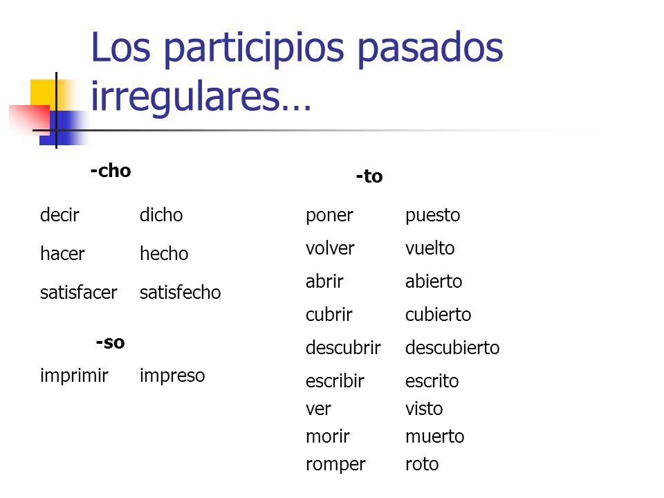 El participio pasado… En inglés el participio pasado se forma regularmente con -ed (talked, walked, viewed, called, etcétera). El problema es que hay