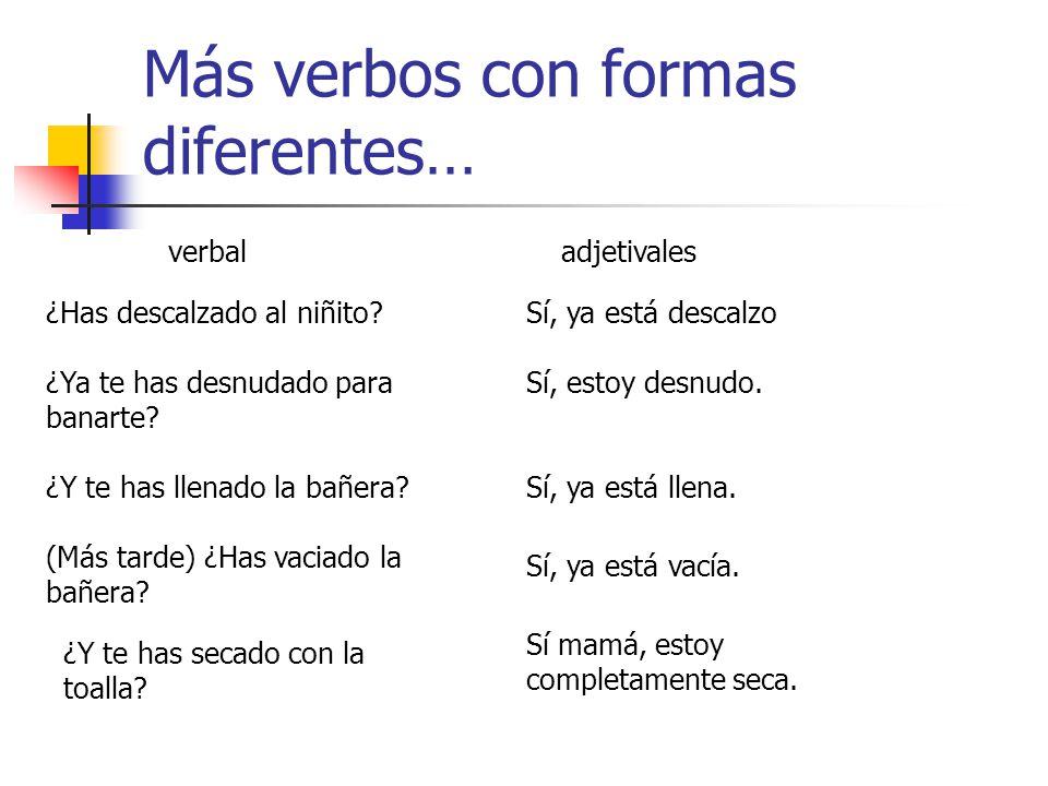 Ciertos participios tienen una form verbal y otra adjetival Aquí hay algunos de los más comunes: verbaladjetival He completado la tarea.La tarea está