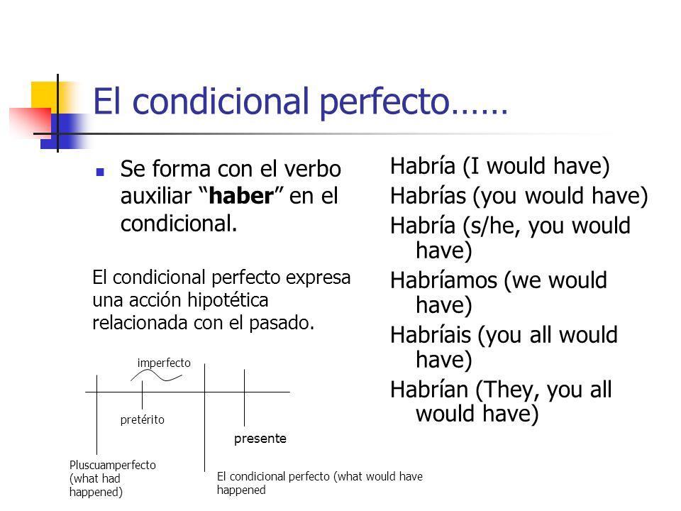 El pluscuamperfecto (o sea, el pasado perfecto)…. Se forma con el verbo auxiliar haber en el imperfecto. Había (I had) Habías (you had) Había (s/he, y