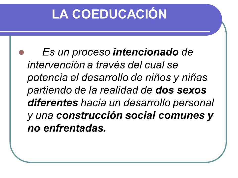LA COEDUCACIÓN Es un proceso intencionado de intervención a través del cual se potencia el desarrollo de niños y niñas partiendo de la realidad de dos sexos diferentes hacia un desarrollo personal y una construcción social comunes y no enfrentadas.