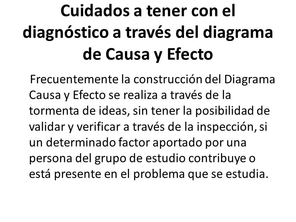 Cuidados a tener con el diagnóstico a través del diagrama de Causa y Efecto Frecuentemente la construcción del Diagrama Causa y Efecto se realiza a tr
