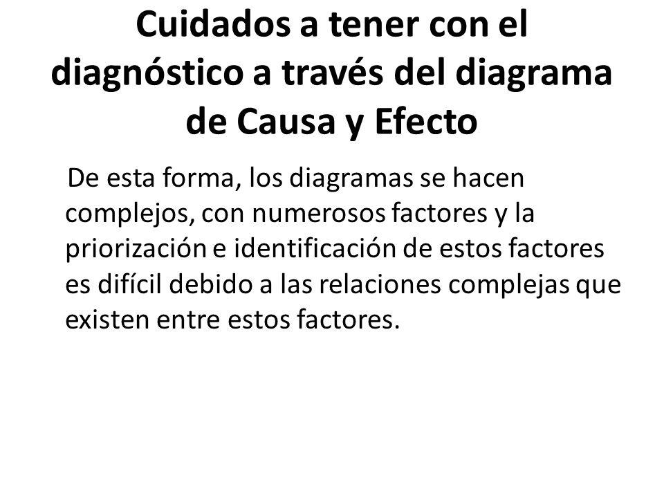 Cuidados a tener con el diagnóstico a través del diagrama de Causa y Efecto De esta forma, los diagramas se hacen complejos, con numerosos factores y