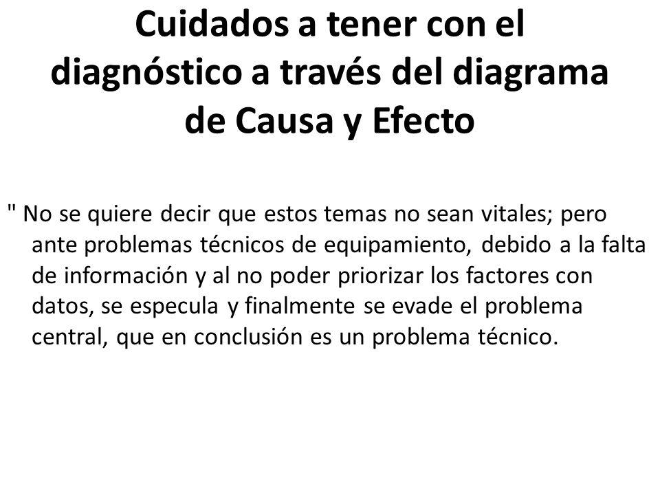 Cuidados a tener con el diagnóstico a través del diagrama de Causa y Efecto